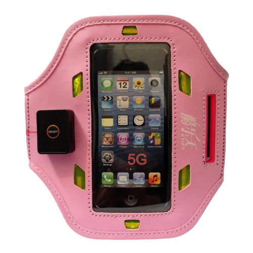 Pink New Elastic Gym Running Sport Iphone5 Led Armband Case Cover Skin Iphone5S Armband Compatible With Apple Iphone5 5G Armband Iphone5C Armband