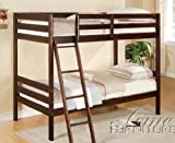 Twin Size Bunk Bed Casual Style in Espresso Finish