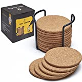 """Natural Cork Coasters With Round Edge 4"""" 16pc Set with Metal Holder Storage Caddy – 1/5"""" Thick, Absorbent, Eco-Friendly, Heat-Resistant, Reusable Saucers for Cold Drinks, Wine Glasses, Cups & Mugs"""