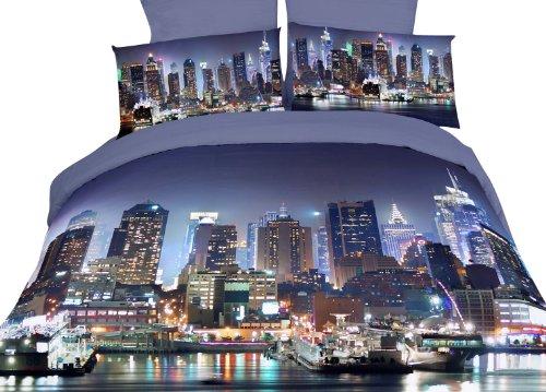 Dolce Mela Dm457K Nyc At Night City Themed Duvet Cover Set, King