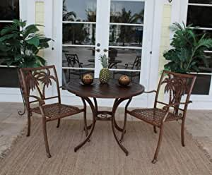 coco palm patio 3 piece slatted table and arm