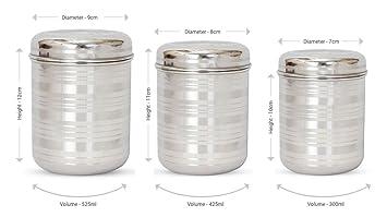 hazel stainless steel kitchen storage container silver 3 pieces. beautiful ideas. Home Design Ideas