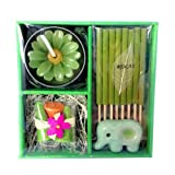 Gift Set Rose Incense Candle Elephant Container in Thai Aroma Silk Box