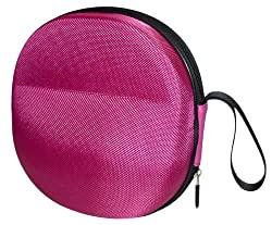 Sturdy Hard Shell Headphone Carrying Case Headset Storage for Travel   Impact Protection for Sony Sennheiser Beats & More   Pink Ballistic Nylon Large