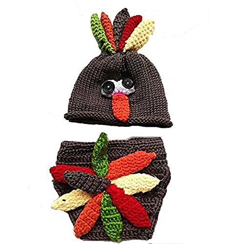 Jastore® Photography Prop Baby Infant Costume Turkey Crochet Knitted Hat Diaper