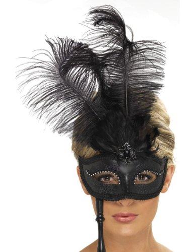 Venezianische Stab Maske mit Federn, schwarz