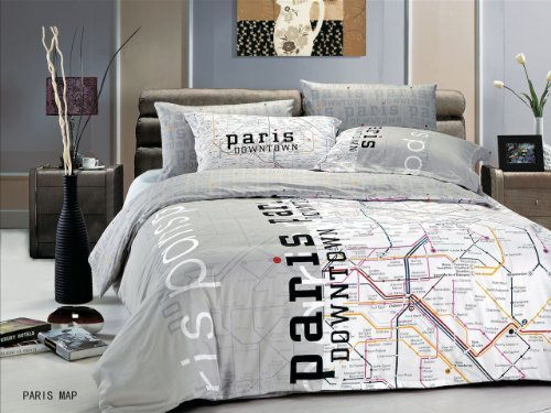 Le Vele Le297T Dorm Room Bedding Duvet Cover Set, Twin, Paris Map front-183223