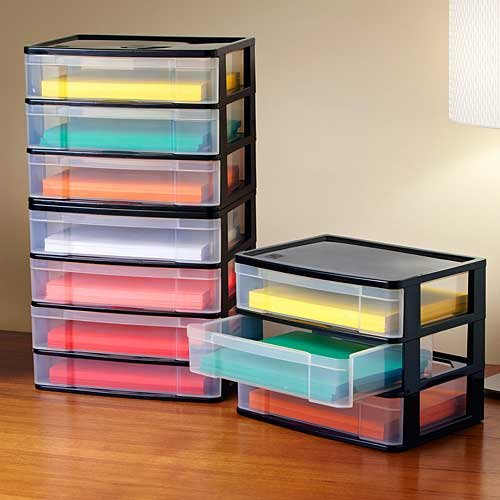 Use a plastic chest of drawers for your storage needs