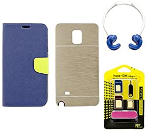 Mify Flip Back Cover for Samsung Galaxy Note 4 with OK Stand and SIM Adapter, Golden & Blue