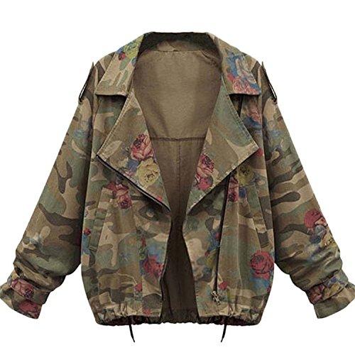 Minetom Donne Autunno Inverno Giacche Camouflage Giacche Militare Giacca Di Jeans Moda Denim Cappotti Coats Verde IT 40