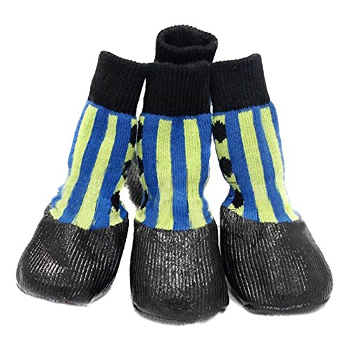 Artikelbild: Semoss 4 Set Klassisch Streifen Haustier Schuhe Anti-Rutsch Hunde Schuhe Pfotenschutz Boots Hunde Socken Hunde Stiefel für Pfoten und Hunde,Größe:XXL,8.0 x 6.6 cm (L x B)