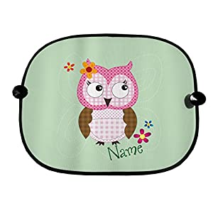 PERSONALISED CARTOON CUTE OWL GREEN DESIGN CAR WINDOW SUN SHADES GREAT FOR CAR BUS CHILDREN