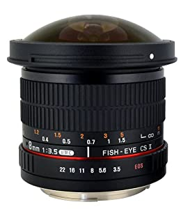 Rokinon HD8M-N 8mm f/3.5 HD Fisheye Lens with Auto Aperture Chip and Removeable Hood for Nikon DSLR 8-8mm, Fixed-Non-Zoom Lens
