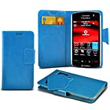 ONX3 (Baby Blue) Blackberry Storm 9500 Super Thin Faux Leather Wallet Flip Suction Pad Skin Case Cover With Credit / Debit Cards Slot