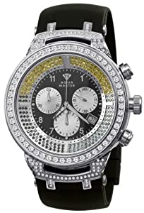 Aqua Master Men's Power Canary Round Diamond Watch with Rubber Band, 4.25 ctw