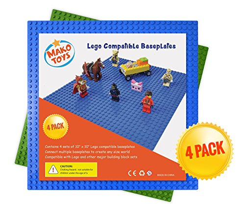 Lego and Duplo Compatible Baseplates (4 pieces of 10