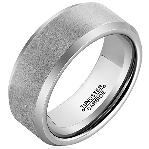 MNH Men's Tungsten Carbide Comfort Fit 8mm Polished Beveled Edge Wedding Band Ring Size 12 (Dean Winchester Blue Steel compare prices)
