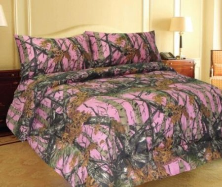 Buy Discount PINK FOREST CAMO MicroFiber Comforter Bed Spread -Queen-