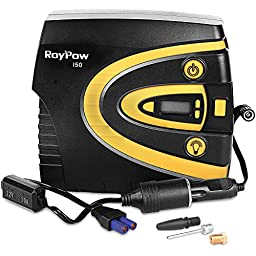 Roypow I51 Multifunctional High Speed 12V Digital Tire Inflator Car Air Compressor with Removable Tire Gauge & EC5 Adapter (A Jump Starter Must Be Required For This Inflator Kit)