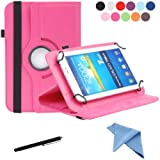 EEEKit 3-in-1 Starter Kit for Universal Epad Lenovo Tab 2 A7 7-Inch HP Stream 7 Coby Kyros MID 7034 7036 7048 Zeki 7 Inch Tablet , Portable Rotating Stand Cover Case + Touch Screen Stylus Pen + Cleaning Cloth (Hot Pink)