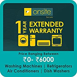 Onsite 1-year extended warranty for Large Appliance (Rs. 0 to < 6000)