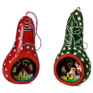 Six Nativity Scenes Carved Gourd Tree Ornaments Peru Christmas Decor