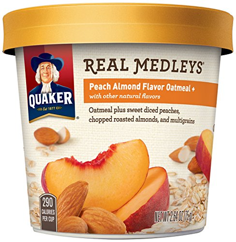 Quaker Real Medleys Oatmeal+, Peach Almond, Instant Oatmeal+ Breakfast Cereal, (Pack of 12) (Quaker Multigrain Hot Cereal compare prices)
