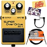Boss SD-1 Super Overdrive Guitar Effects Pedal Bundle with Gearlux Instrument Cable, Patch Cable, Picks, and Polishing Cloth