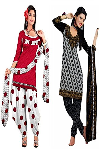 Araham soft crepe / American crepe dress material / unstitched Salwar Suit pack of 2 combo No 525