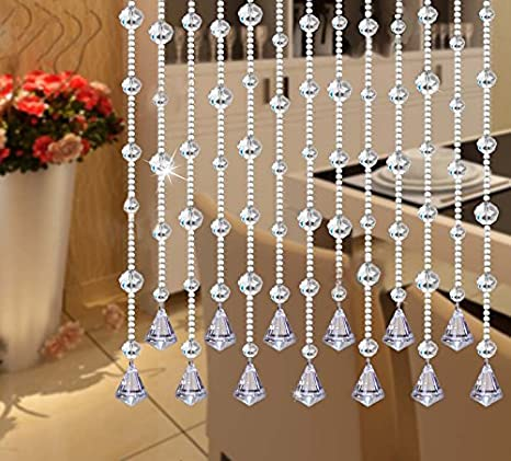 59-inch Faux Crystal Bead Garland Strands with Free Pendants for Christmas Decorations, Home Party, and Wedding - 5 Piece Set by Fushing