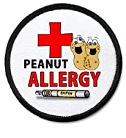 PEANUT ALLERGY Medical Alert 3 inch Black Rim Sew-on Patch from Creative Clam