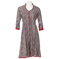 Moh Womens Cotton Black Large Anarkali Suit