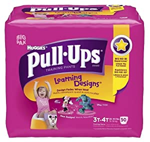 Huggies Pull-Ups Learning Design Training Pants, Size 3T - 4T, Girl, 50 Count (Pack of 2)