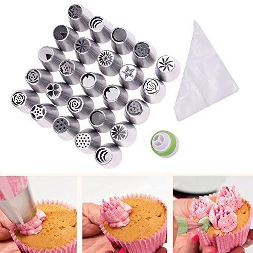 Candora® russo Piping Punte Set 46pcs 25integrato Molding Cake Decorating Bocca in acciaio inox strumenti per decorare torte grandi
