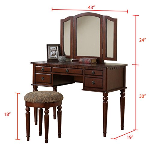 Vanity Set with Mirror and Stool Vintage Antique Makeup Dresser for Women Table Drawer Organizer Bedroom Furniture… (Cherry) 3