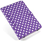 "Housse Uuniversel style a pois couleur fond Violet polka dot blanc simi cuir support pour tablette PC 10"" 10.1"", 10.2"" style traditionnel ex. Android Tablet PC Tab Epad Apad, MID pad, SuperPad, Samsung Galaxy Tab 10.1 P7500 P7510, Tab 2 10.1"" P5100 P5110, Galaxy Note 10.1 N8000, 10"" Blackberry player book, 10"" E reader book, Acer ICONIA A500 A501, Motorola XOOM MZ601 10"" Advent Vega, etc etui coque"