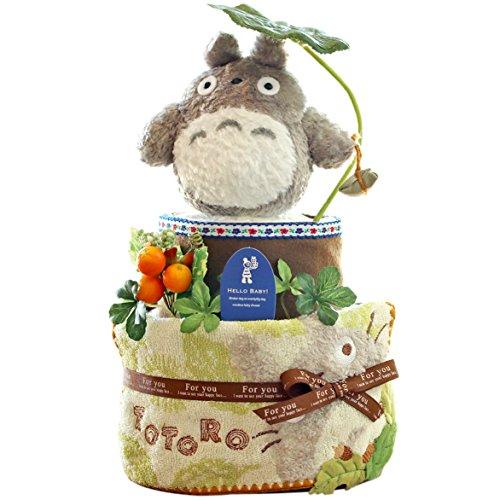 【出産祝い/おむつケーキ】トトロのおもちゃ&タオル付き。プレミアムパンパースでできた2段オムツケーキ