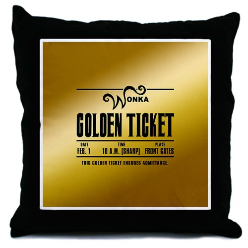 CafePress - Wonka Golden Ticket Throw Pillow - Throw Pillow, Decorative Accent Pillow (Movie Ticket Accent Pillow compare prices)