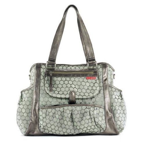 Skip Hop Studio Diaper Bag Tote Bag, Pewter Dot