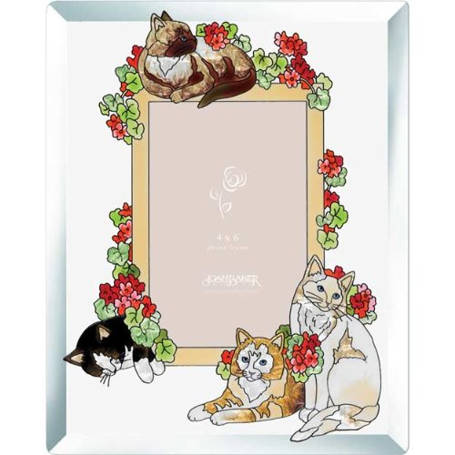 Joan Baker Designs PFB4623 Cats and Geraniums Art Glass Photo Frame