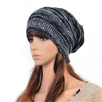 ECOSCO Men Women Unisex Girl Striped Stripes Pattern Slouchy Knit Beret Beanie Crochet Rib Hat Cap Warm (Black)