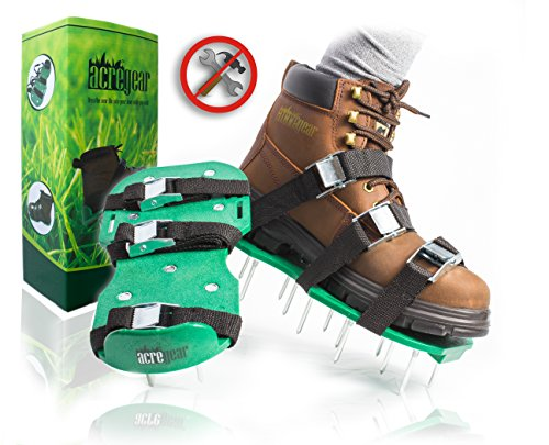 Fully Assembled Lawn Aerator Shoes with 4 Adjustable Straps   Ready to Use Premium Grass Aeration Sandals with Heavy Duty Metal Buckles & Secure Steel Spikes   4th Strap, Extra Hardware & Instructions