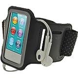 iGadgitz Reflective Anti-Slip Neoprene Sports Gym Jogging Armband for Apple iPod Nano 7th Generation 16GB  - Black