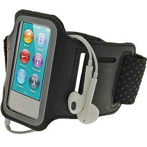 igadgitz Noir Brassard Jogging Sport Gym Réfléchissante Antidérapant pour Apple iPod Nano 7ème Génération 7G 16GB