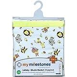 My Milestones Muslin Blanket 3 Layered - Lemon Yellow