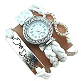 One Direction Diamond Watch Charm Bracelet+Infinity+One Direction+Leather WINTER WHITE
