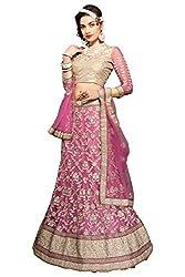Jiya Presents Embroidered Net Lehenga Choli(Pink,Beige)