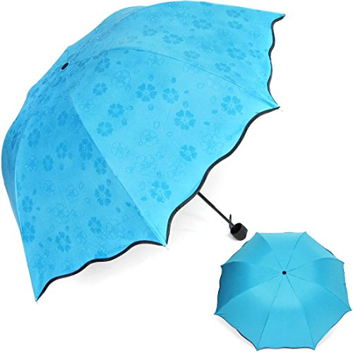 kilofly anti uv folding parasol secret blossom water magic umbrella upf 40 blue home garden. Black Bedroom Furniture Sets. Home Design Ideas