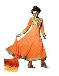 Mantra Fashion Orange Color Floral Thread Embroidery Work & Lace Border Work Anarkali Salwar Kameez
