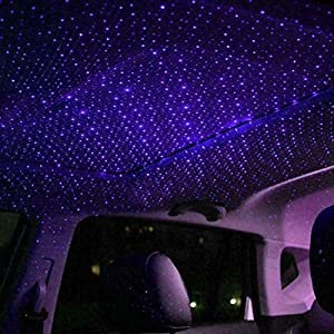 2019 Romantic Auto Roof Star Projector Lights, Flexible Romantic Galaxy USB Night Lamp Fit All Cars Ceiling Decoration Light Interior Ambient Atmosphere (Pink Item for Girls(1pc Purple)) (Color: Purple)